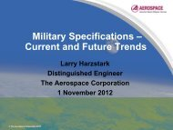 Military Specifications – Current and Future Trends
