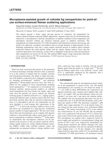 use surface-enhanced Raman scattering applicatio - Case Western ...