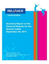 Quarterly Report on the Financial Results for the Quarter - Reliance ...