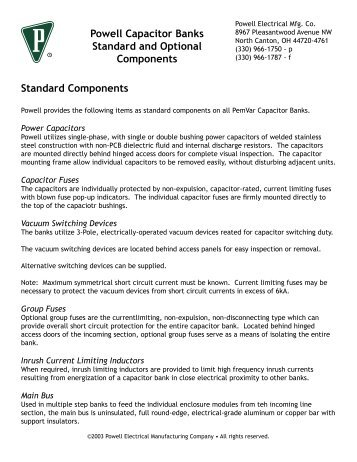 Powell Capacitor Banks Standard and Optional Components ...