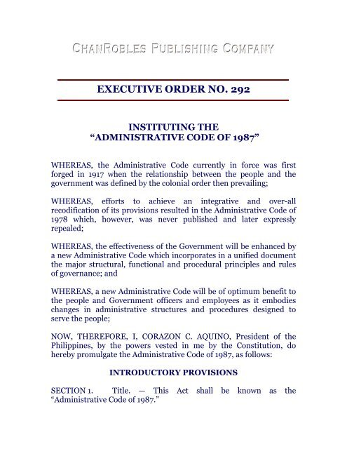 executive order no  292 - Chan Robles and Associates Law Firm