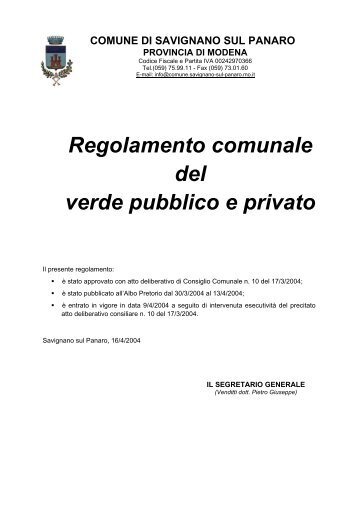 Reg.to Verde pubblico e privato - Comune di Savignano sul Panaro