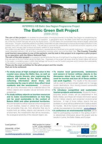 The Baltic Green Belt Project (2009–2012)