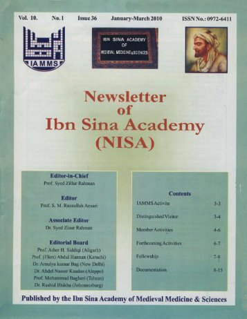 NISA 2010 - Ibn Sina Academy of Medieval Medicine and Science