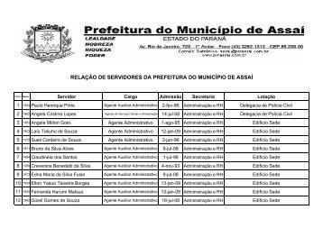 Relação Completa dos Servidores Municipais - Prefeitura de Assaí