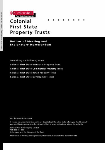 Colonial First State Property Trusts - First State Investments