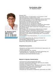 Curriculum vitae - im Zentrum für Zahngesundheit St. Gallen