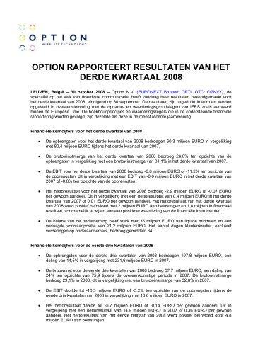 option rapporteert resultaten van het derde kwartaal 2008