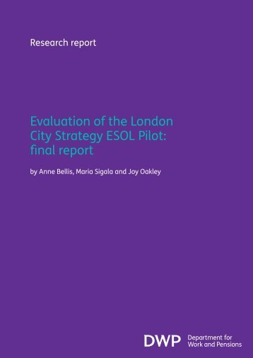 Evaluation of the London City Strategy ESOL Pilot: final report - Gov.uk