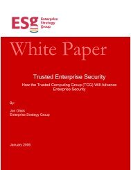 Trusted Enterprise Security - Trusted Computing Group