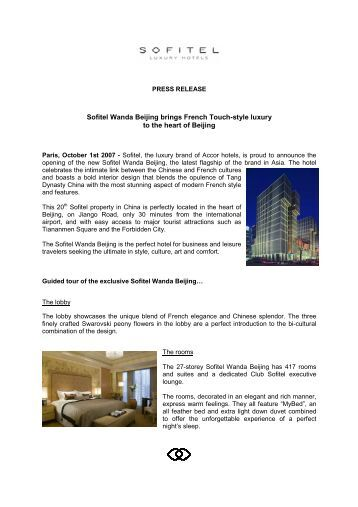 Sofitel Wanda Beijing brings French Touch-style luxury to the heart of