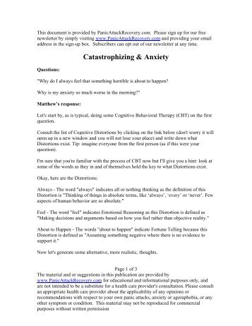 Catastrophizing & Anxiety - Help & Recovery for Panic Attacks