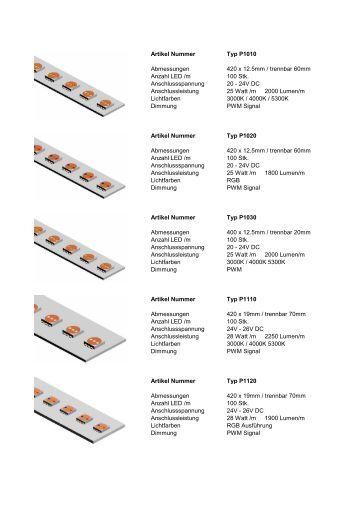 Artikel Nummer Typ P1010 Abmessungen 420 x 12.5 ... - Astra LED