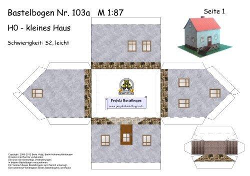 Bastelbogen 103a H0 Kleines Haus Projekt Bastelbogen