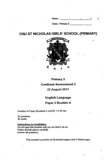 CHIJ ST NICHOLAS GIRLS' SCHOOL (PRIMARY) - Orlesson.com