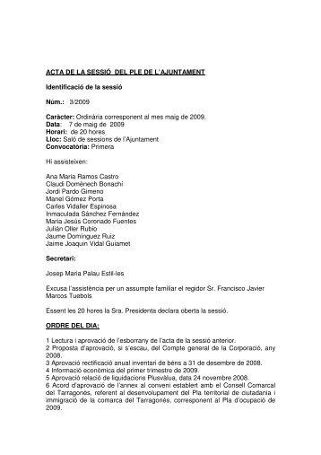 ACTA DE LA SESSIÓ DEL PLE DE L'AJUNTAMENT Identificació de ...
