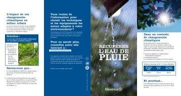 Récupérer l'eau de pluie - Ville de Montréal