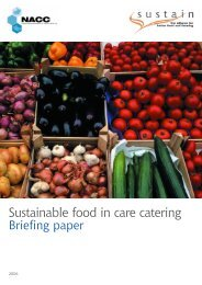 Sustainable food in care catering