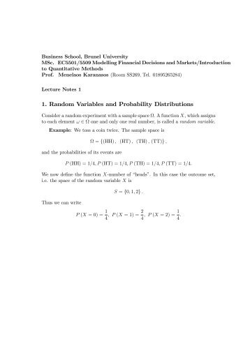 1. Random Variables and Probability Distributions - Professor ...