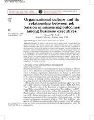 Organizational culture and its relationship between job ... - Emerald