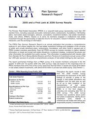 Plan Sponsor Research Report - Pension Real Estate Association