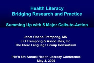 Bridging Research and Practice for Health Literacy.pdf - Project SHINE