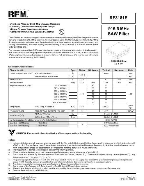 916 5 MHz SAW Filter RF3181E - RF Monolithics, Inc