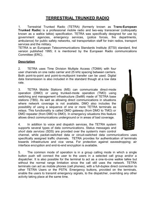TERRESTRIAL TRUNKED RADIO - Integrated Defence Staff