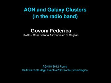 AGN and Galaxy Clusters (in the radio band) Govoni Federica