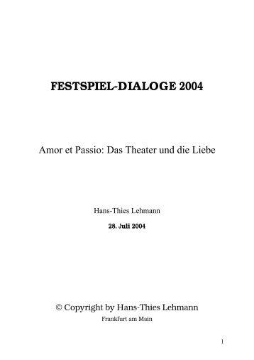 Amor et Passio: Das Theater und die Liebe - Freunde der ...