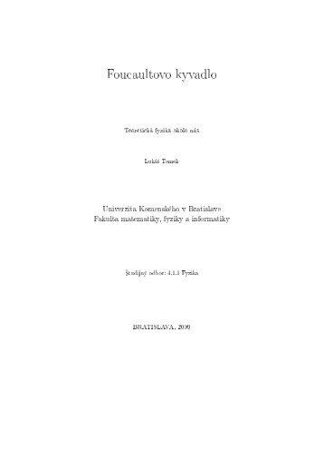 Foucaultovo kyvadlo - Univerzita Komenského