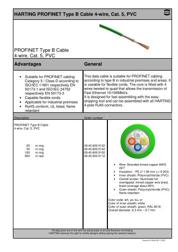 Harting Profinet Type C Cable 4 Wire, Cat 5, Pur Profinet RJ45 Network Connector Profinet Rj45 Connector Diagram 4 Wires