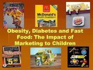 Obesity, Diabetes and Fast Food: The Impact of Marketing to Children