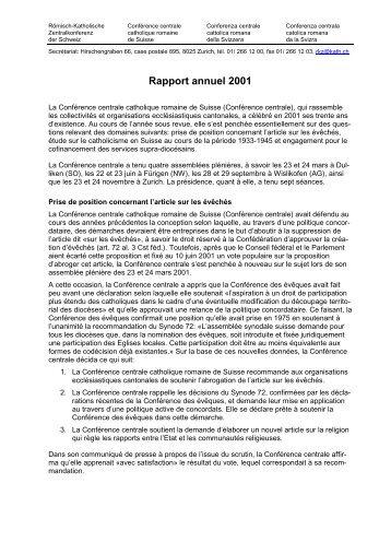 Rapport annuel 2001 - RKZ