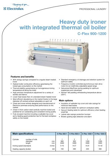 Heavy duty ironer with integrated thermal oil boiler - Progastro
