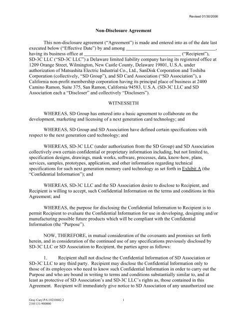 Non Disclosure Agreement This Non Disclosure Sd