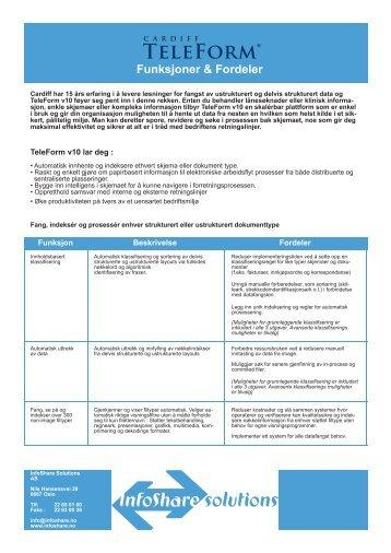 Funksjoner & Fordeler - InfoShare Solutions