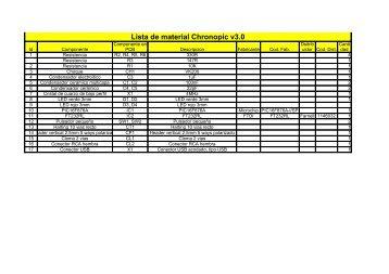 Lista de material Chronopic v3.0 - GNOME Project Listing