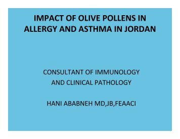 The impact of olive pollens on allergy and asthma in Jordan