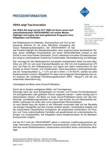 VEKA zeigt Top-Innovation
