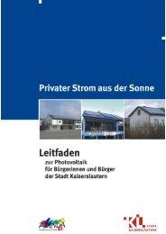 Solarbroschüre Privater Strom aus der Sonne - Stadt Kaiserslautern