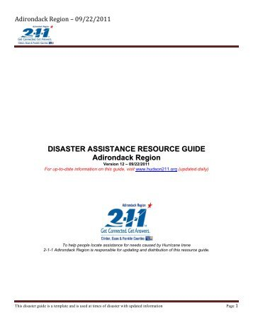 Adirondack Assistance Guide - Department of Natural Resources