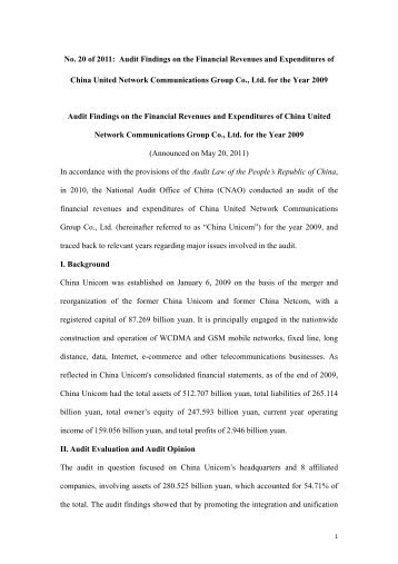 No. 20 of 2011: Audit Findings on the Financial Revenues and ...
