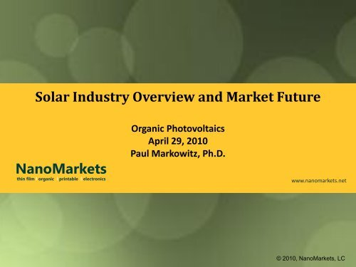 Solar Industry Overview and Market Future - NanoMarkets
