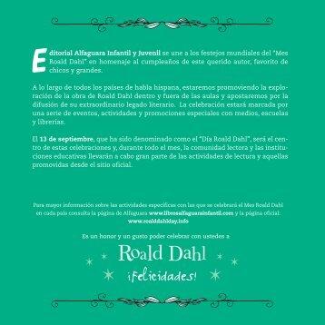 """""""Mes Roald Dahl"""" en homenaje al cumpleaños de es - Prisa Ediciones"""