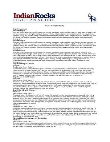 Course Description Catalog English Department 6th Grade English ...