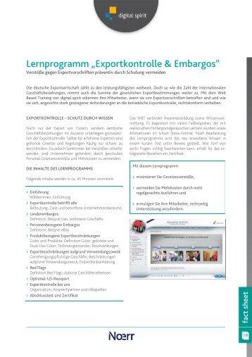 "Lernprogramm ""Exportkontrolle & Embargos"" - Compliance Training"