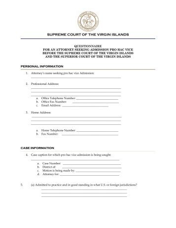 Pro Hac Vice Questionnaire - Supreme Court of the Virgin Islands