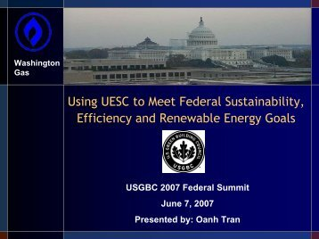 Using UESC to Meet Federal Sustainability, Efficiency and ...