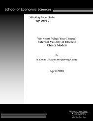 External Validity of Discrete Choice Models - Washington State ...
